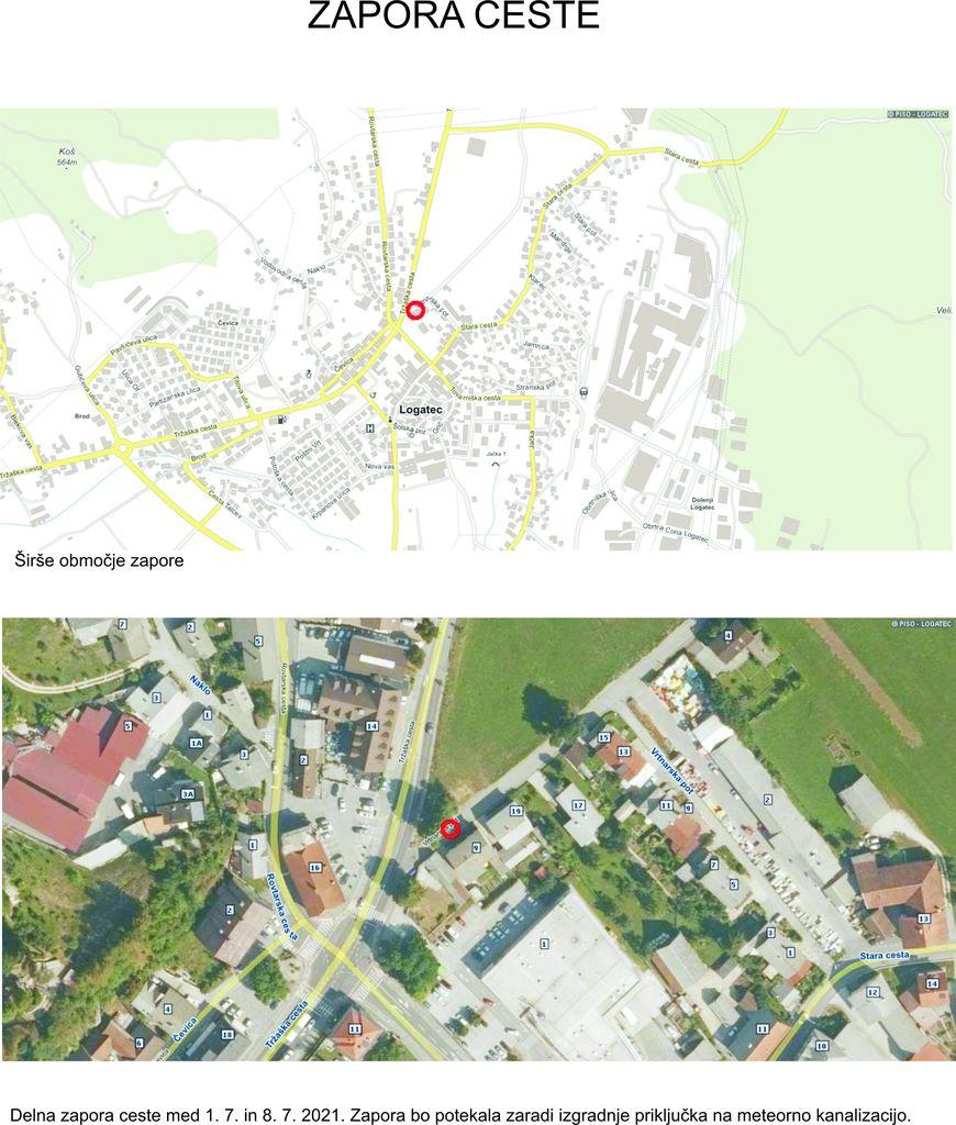 Zapora ceste: Tržaška cesta - Vodovodna cesta