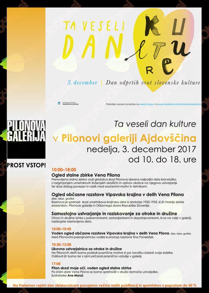 Ta veseli dan kulture v Pilonovi galeriji Ajdovščina
