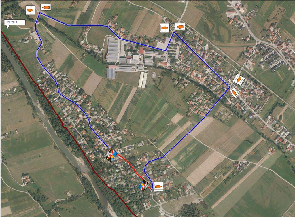 Začasna delna in popolna zapora v naselju Breg pri Polzeli