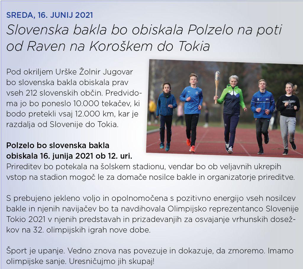 Slovenska bakla prihaja na Polzelo