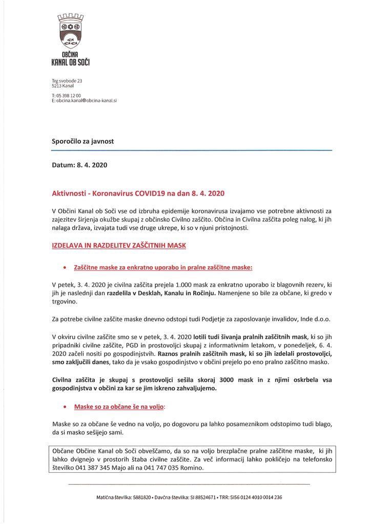 Sporočilo za javnost  AKTIVNOSTI - Koronavirus COVID19