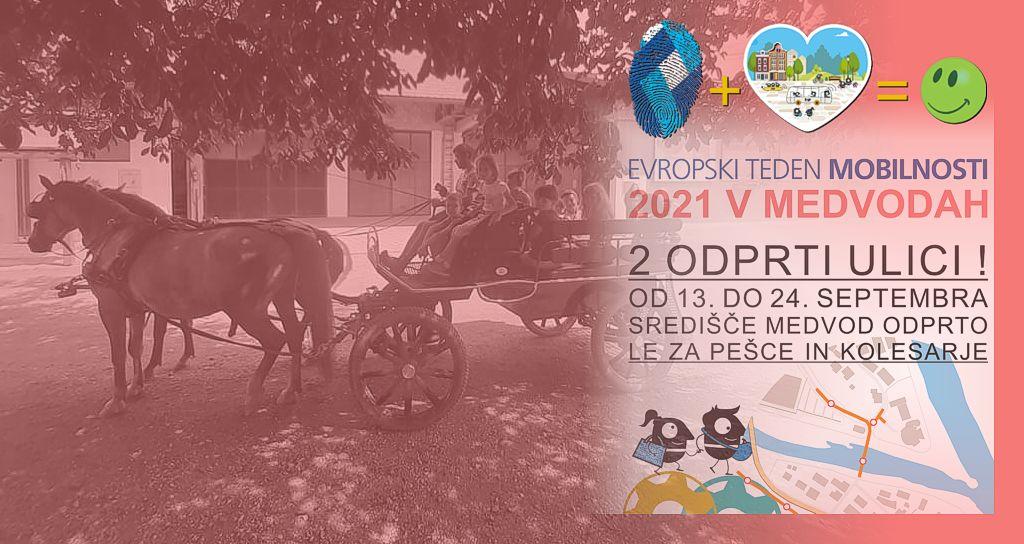 Konjička so zapregli - brezplačna vožnja s Hraško dvovprego - Evropski teden mobilnosti 2021 v Medvodah