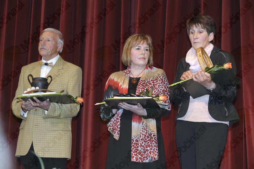 Prejemniki priznanj: Božidar Lovišček, Plesna skupina Tince – Danila Schilling, Mirica Testen