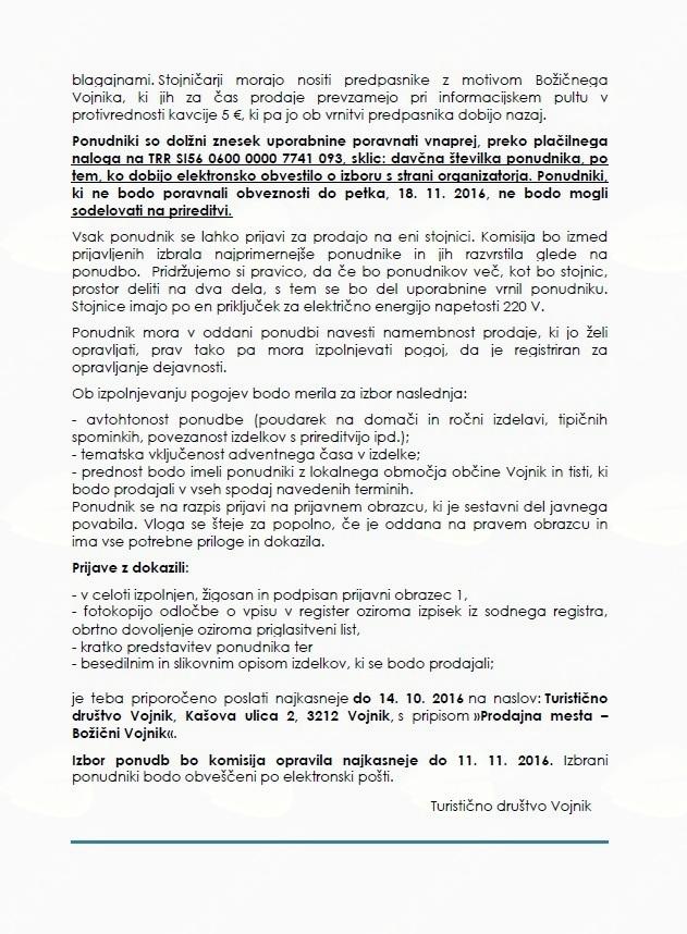 Obvestilo o javnem Povabilu za najem stojnice v okviru prireditve »BOŽIČNI VOJNIK 2016«