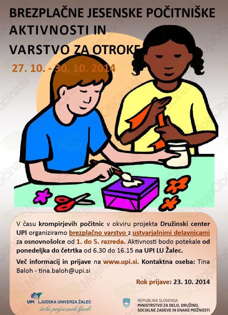 Brezplačne jesenske počitniške aktivnosti in varstvo za otroke