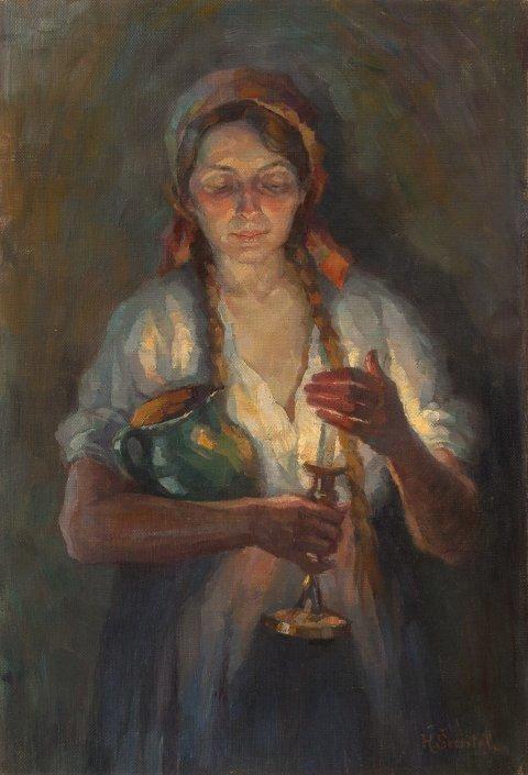 Henrika Šantel, Portret sestre Danice, ok. 1912, olje na platno, Goriški muzej Kromberk