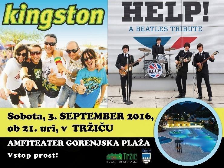 Za zabavno slovo od Tržiških poletnih prireditev bodo poskrbeli člani skupin Kingston in Helkp! A Beatles Tribute