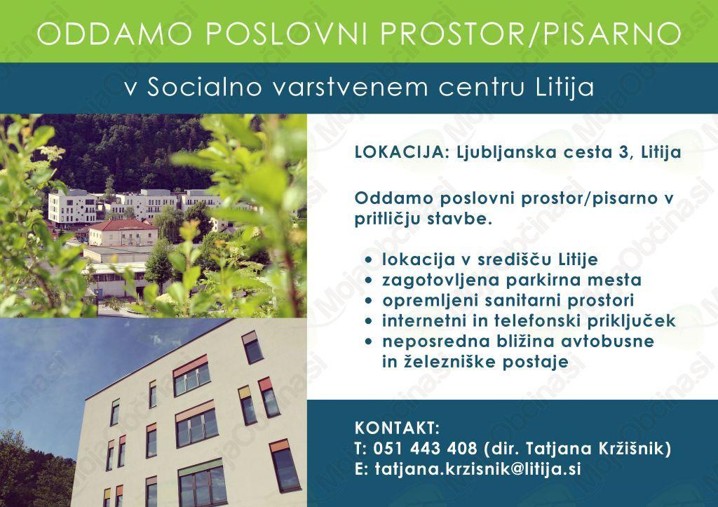 Socialno varstveni center Litija oddaja poslovne prostore