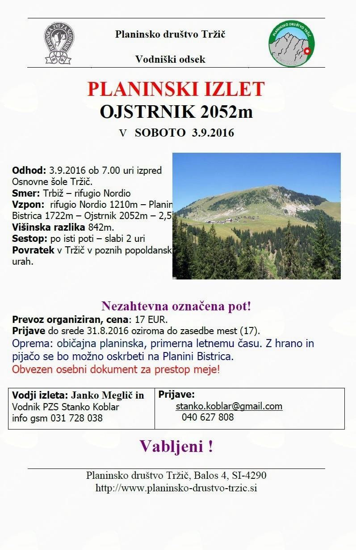 S Planinskim društvom Tržič se lahko v soboto odpravite na Ojstrnik