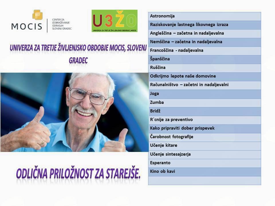 Povabilo k vpisu v študijske programe U3ŽO MOCIS Slovenj Gradec