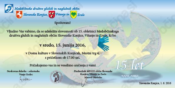 15. let Medobčinskega društva gluhih in naglušnih občin Slovenske Konjice, Vitanje in Zreče