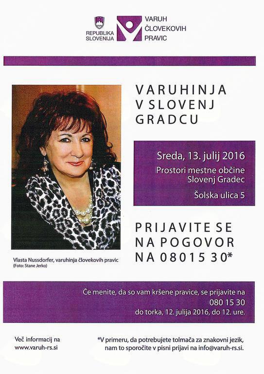 Varuhinja človekovih pravic Vlasta Nussdorfer prihaja v Slovenj Gradec