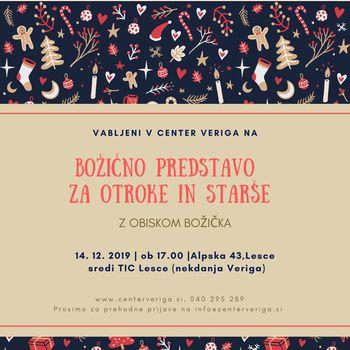 Sobota, 14.12., predstava za otroke in starše v Centru Veriga!