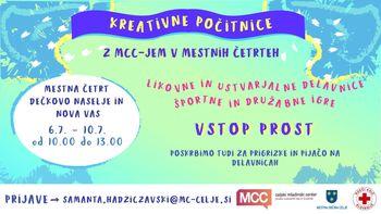 MCC-jeve kreativne počitnice v Dečkovem naselju in Novi vasi