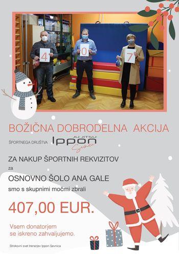 IPPON Z BOŽIČKOM DOBRODELNO ZBRAL 407 EUR ZA ŠPORTNE REKVIZITE