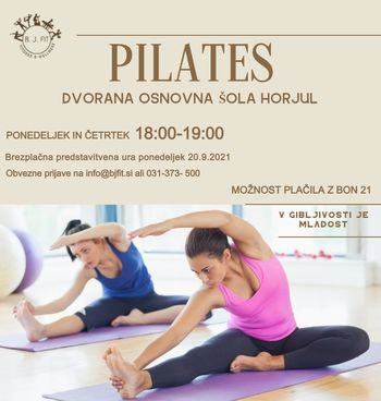 Vabilo na brezplačno predstavitev vadbe pilates v ponedeljek 20.9. 2021