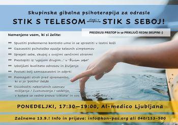 STIK S TELESOM - STIK S SEBOJ (s tehnikami gibalne-psihoterapije do boljših odnosov in kakovostnejšega življenja)