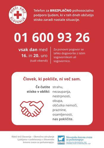 Psihosocialna podpora na posebni telefonski številki