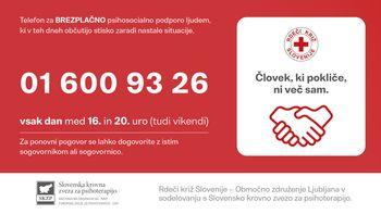 Psihosocialna podpora na posebni telefonski številki Rdečega križa Ljubljana