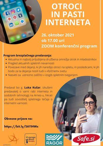 Brezplačno predavanje - Otroci in pasti interneta