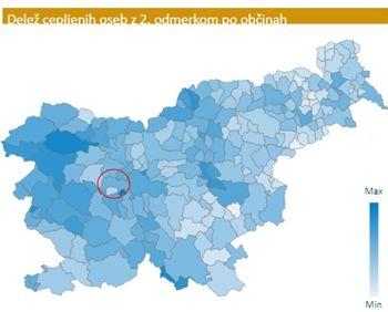 25 % prebivalcev občine cepljenih s prvim odmerkom cepiva, kar je 1,85 % nad slovenskim povprečjem