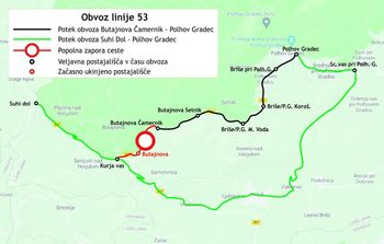 Obvoz avtobusne linije 53 Polhov Gradec-Suhi dol zaradi popolne zapore ceste v Mali vodi