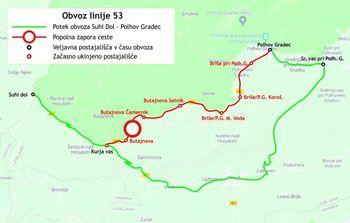 Obvoz avtobusne linije 53 Polhov Gradec–Suhi dol