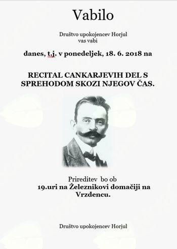 Vabilo na recital Cankarjevih del