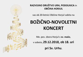 Vabilo na Božično-novoletni koncert na Urhu