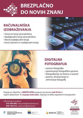 BREZPLAČNO DO NOVIH ZNANJ: računalniška izobraževanja in digitalna fotografija