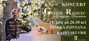 Gianni Rijavec z godalnim kvartetom na Vinski fontani Kapela