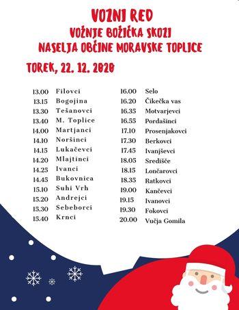 Vožnja Božička po naseljih občine Moravske Toplice