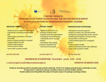 Projekt »COVID-19 – Psihosocialna pomoč in svetovanje ter pravno socialni servis za ranljive skupine na Primorskem področju«