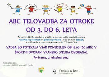 ABC TELOVADBA ZA OTROKE OB 3. DO 6. LETA