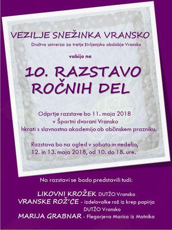 10. RAZSTAVA ROČNIH DEL – Vezilje Snežinka Vransko