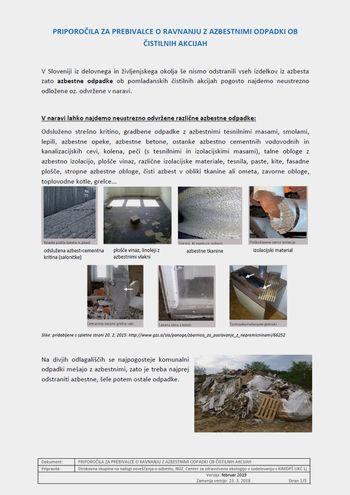 Priporočila za prebivalce o ravnanju z azbestnimi odpadki ob čistilnih akcijah