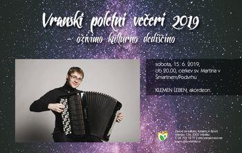 Vranski poletni večeri-oživimo kulturno dediščino; JURIJ HLADNIK,klarinet, GODALNI KVARTET ACCADEMIA