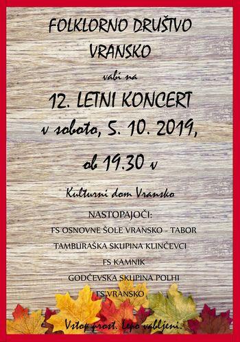 12. letni koncert FS VRANSKO