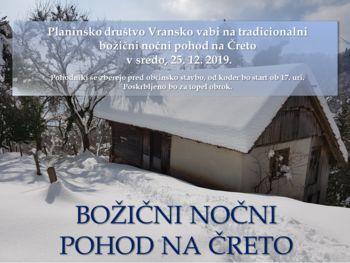 BOŽIČNI NOČNI POHOD NA ČRETO 2019