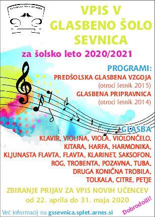 VPIS novih učencev v Glasbeno šolo Sevnica 2020/21