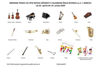 VPIS novih učencev v Glasbeno šolo Sevnica v š. l. 2020/21