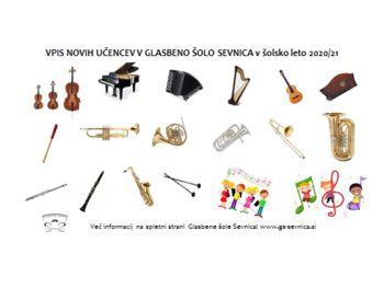 VPIS novih učencev v Glasbeno šolo Sevnica v šolsko leto 2020/21 - avgustovski rok