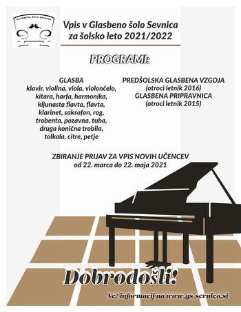 VPIS novih učencev v Glasbeno šolo Sevnica v š. l. 2021/22