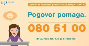 Vzpostavljena telefonska št. 080 51 00 za psihološko podporo prebivalcem ob epidemiji COVID-19