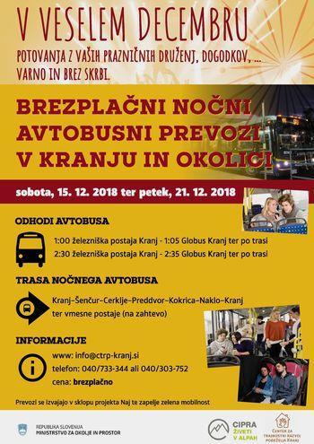 Brezplačni nočni prevozi Kranj - Šenčur, Cerklje, Preddvor, Naklo, ....
