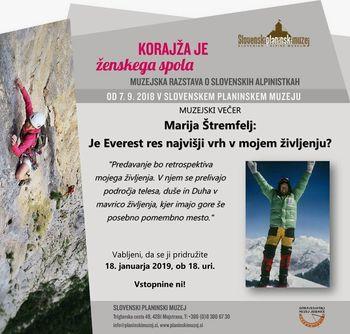 Vabljeni na predavanje Marija Štremfelj: Je Everest res najvišji vrh v mojem življenju?