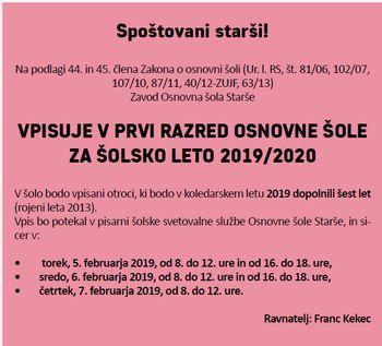 VPIS V PRVI RAZRED OSNOVNE ŠOLE ZA ŠOLSKO LETO 2019/2020