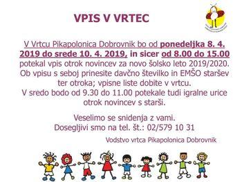 VPIS V VRTEC PIKAPOLONICA DOBROVNIK