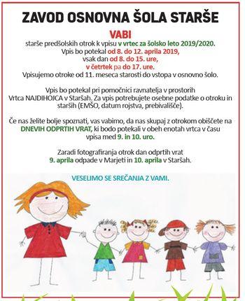 ZAVOD OSNOVNA ŠOLA STARŠE VABI starše predšolskih otrok k vpisu v vrtec za šolsko leto 2019/2020