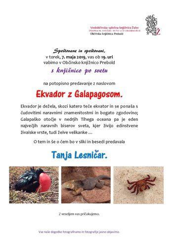 Predavanje Ekvador z Galapagosom - 7.5. ob 19.00